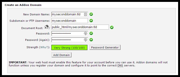 Addon Domain Screen