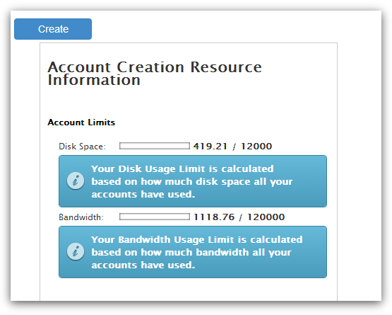WHM Create an Account