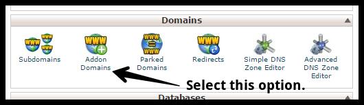 Addon Domain Option